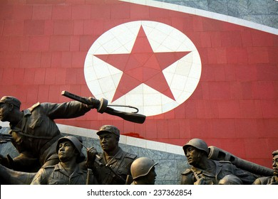NORTH KOREA, PYONGYANG - JUNE 11: Mansudae Monument at June 11, 2014 in Pyongyang, North Korea. Mansudae with the Leaders is the most sacred monument in North Korea.