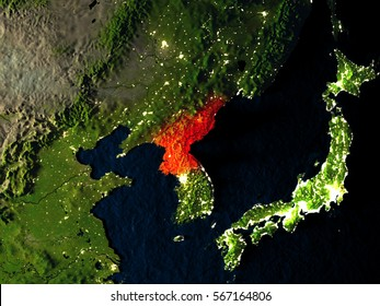 North Korea in red at night as seen from Earth's orbit in space. 3D illustration with highly detailed realistic planet surface. Elements of this image furnished by NASA.