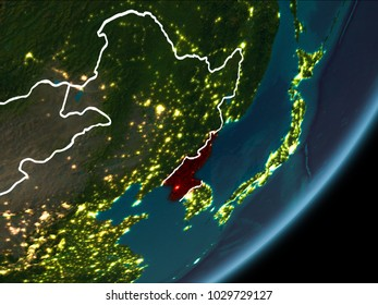 North korea satellite images stock photos vectors shutterstock north korea as seen from earths orbit on planet earth at night highlighted gumiabroncs Choice Image