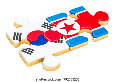 North Korea and South Korea puzzles from flags, 3D rendering isolated on white background