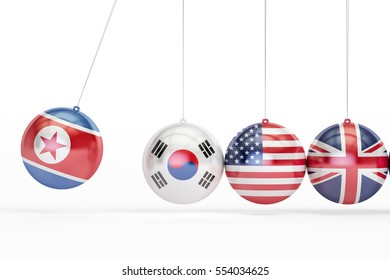 North Korea, South Korea, USA, Great Britain political conflict concept. 3D rendering isolated on white background