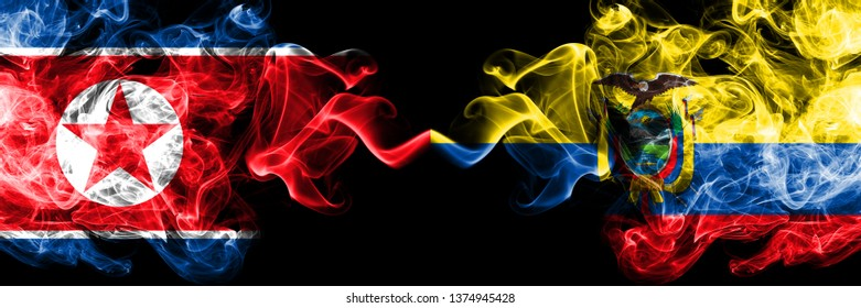 North Korea vs Ecuador, Ecuadorian smoky mystic flags placed side by side. Thick colored silky smoke flags of North Korea and Ecuador, Ecuadorian.