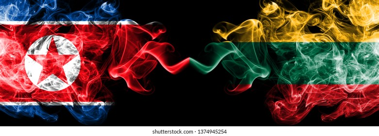 North Korea vs Lithuania, Lithuanian smoky mystic flags placed side by side. Thick colored silky smoke flags of North Korea and Lithuania, Lithuanian.