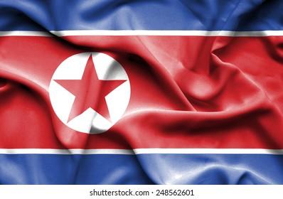 North Korea waving flag