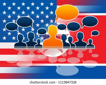 North Korean Americans Talking Copy Space 3d Illustration. Cooperation And Accord To Build Rapport With President US Speech Bubble