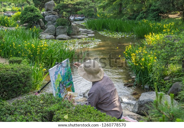 North Korean Artist Moranbong Park Pyongyang Stock Photo Edit Now 1260778570