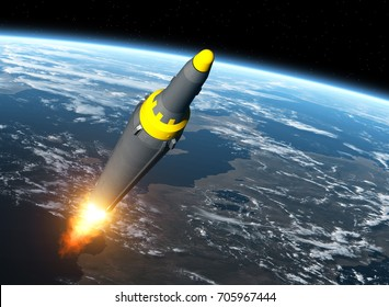 North Korean Ballistic Missile On Background Of Earth. 3D Illustration.