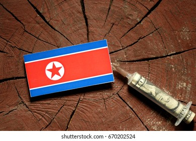 North Korean flag on a stump with syringe injecting money in flag