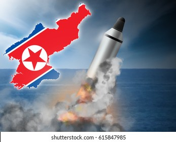 North Korean ICBM missile launch.  Original illustration.