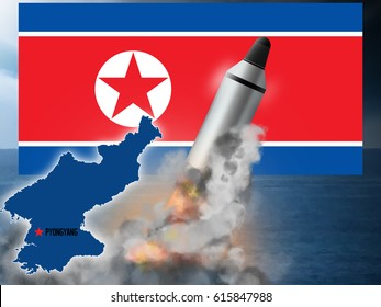 North Korean ICBM missile launch.  Original illustration.