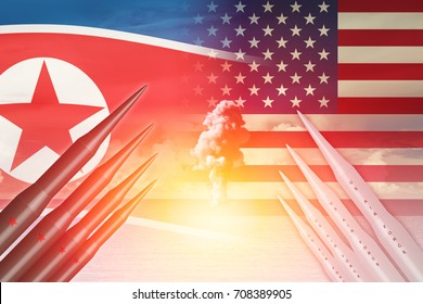 North Korean launch ICBM missile test attack with US America for nuclear bomb news illustration concept.