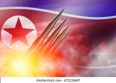 North Korean lunch ICBM missile for nuclear bomb test illustration concept.