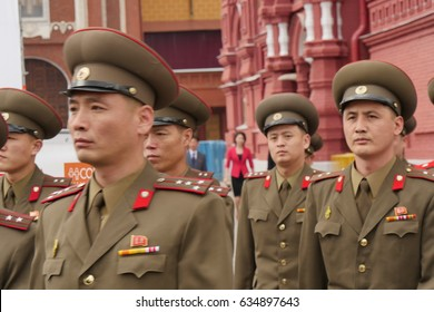 North Korean Soldiers. North Korea big Armed Force and Pyongyang Dictator Kim Jong Un used Military Power to threaten a Nuclear War against the United States. Moscow 29 August 2015.