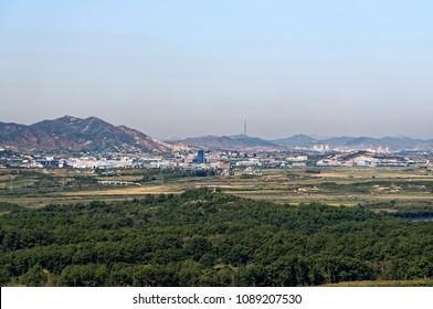 NORTH KOREAN VILLAGE- SEPTEMBER 28, 2017: North Korean propaganda village across the Demilitarized Zone seen from Dora Observatory in South Korea