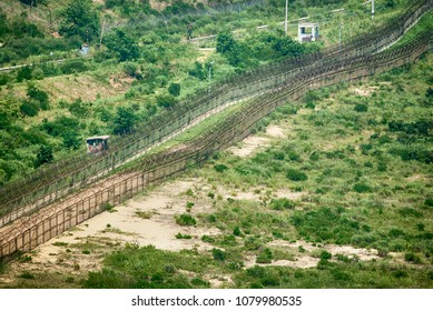 North Korea's Guard posts and railways View from the Demilitarized Zone of south korea
