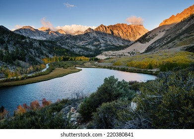 North Lake in the Sierra Nevada Mountains at sunrise in the fall with yellow aspen trees