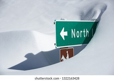North Lake sign buried in the snow