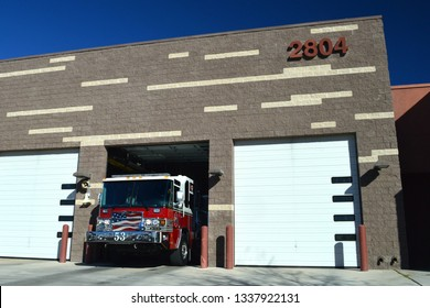 North Las Vegas Nevada USA January Fourth 2019 Pierce Fire Engine Pulling Out Of The Firehouse In North Las Vegas Clark County Nevada Station 53