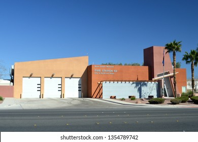 North Las Vegas Nevada USA March 29, 2019. North Las Vegas Fire Department Of Clark County Nevada Station 52's Firehouse Built In 2002.