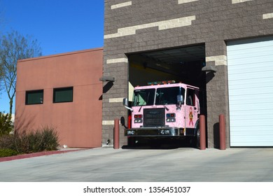 North Las Vegas Nevada USA March 7, 2019. North Las Vegas Fire Department Of Clark County Nevada's Breast Cancer Awareness Public Relations Unit Pulling Out Of The Firehouse.