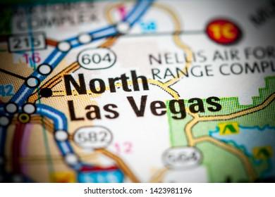 North Las Vegas. Nevada. USA on a map