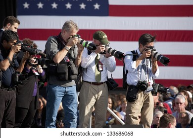 NORTH LAS VEGAS - NOVEMBER 01: Photographers at a Presidential Campaign rally on November 01, 2012  at Cheyenne Sports Complex in North Las Vegas, Nevada