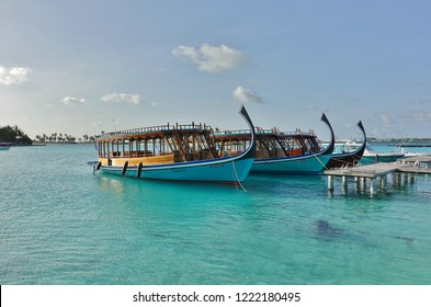 NORTH MALE, MALDIVES -6 JUL 2018- View of a dhoni, a traditional Maldivian wooden fishing boat on the water on Furanafushi Island, North Malé Atol.