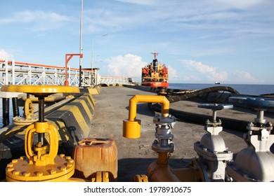 North Mamuju, West Sulawesi, Indonesia, 24 May 2021, CPO Tanker Ship Unloading at, Tanjung Bakau Port, North Mamuju Regency, West Sulawesi Province