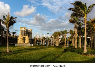 North Miami Beach, Florida, December 5, 2017: Gilbert Samson Oceanfront Park in Sunny Isles
