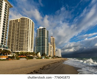 North Miami Beach, Florida, December 5, 2017: Luxury hotels line up the beach in the Sunny Isles, Florida