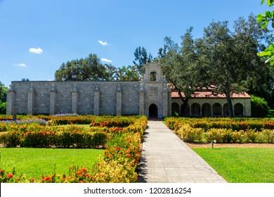 NORTH MIAMI BEACH, FLORIDA, USA - SEPTEMBER 22, 2018: St. Bernard de Clairvaux Church, a 12th century Spanish monastery
