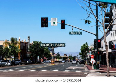 North Park San Diego, CA, USA June 12, 2019  North Park Sign at 30th Street
