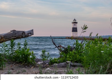 North Pier Lighthouse on Presque Isle in Lake Erie just off the shore of Pennsylvania