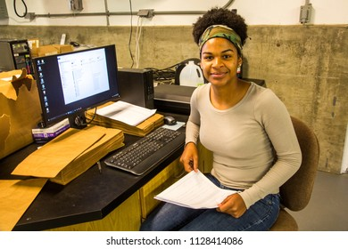 North Platte, Nebraska - 6/26/2018:  A student from the West Indies working at the Pestiside application Technology lab, University of Nebraska, Lincoln