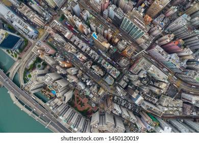 North Point, Hong Kong 01 June 2019: Top down view of Hong Kong apartment building
