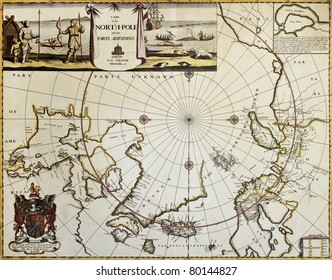 North Pole and adjoining lands old map. Created by Moses Pitt, published in Oxford, 1680