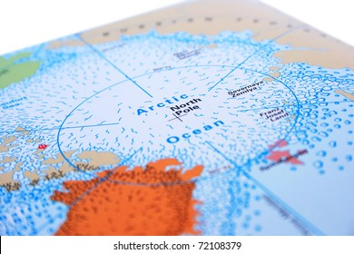 North Pole with Arctic ocean.