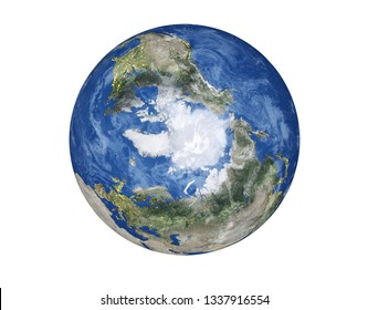 North Pole of the Planet Earth of Solar system with city lights and clouds isolated on white background. Winter planet concept. Elements of this image furnished by NASA