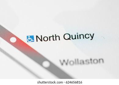 North Quincy Station. Boston Metro map.
