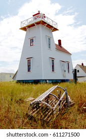 North Rustico Lighthouse in Prince Edward Island, Canada was built in 1876 and has been moved and repaired a number of times since.