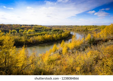 North Saskatchewan river bent near town Devon, Alberta in fall season rich in yellow colors