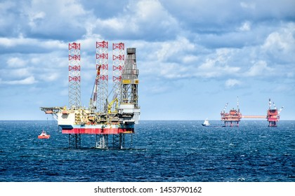 North Sea – August 10, 2018: Drilling rig MAERSK RESOLUTE and supply vessels on the North Sea near the Netherlands