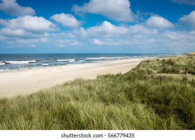 North sea beach and beautiful sky, Holland