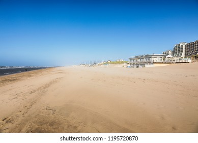 North Sea Beach of Noordwijk aan Zee, The Netherlands, with pavilions and hotels