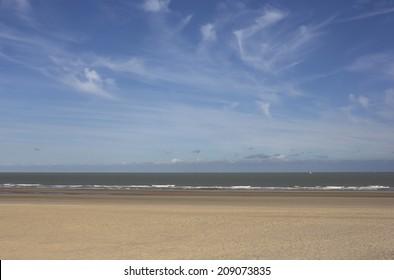 North Sea beach in Ostend, Belgium