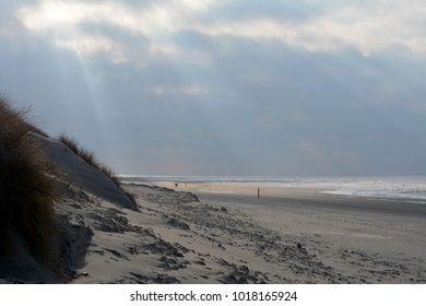 North Sea beach in winter, on the island Texel. Holland Europe.