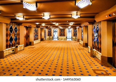 North Sea - July 19, 2017: Staircase and elevators inside the cruise ship Costa Favolosa of the shipping company Costa Cruises