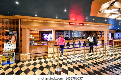 North Sea - July 19, 2017: Guests at the reception on board the cruise ship Costa Favolosa of the shipping company Costa Cruises