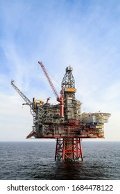 NORTH SEA, NORWAY - 2011 APRIL 15. Oil platform Ringhorn in the North Sea working for Esso.