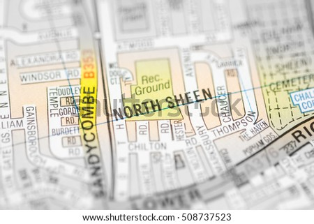 Map Of North London Uk.North Sheen London Uk Map Stock Photo Edit Now 508737523